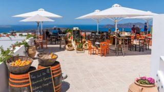 ギリシャのサントリーニ島のレストラン