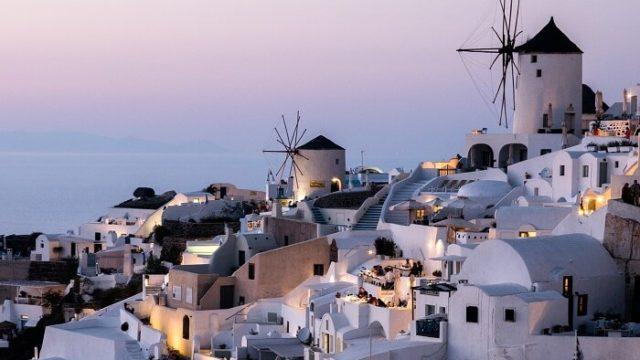 ギリシャのサントリーニ島(夕日)