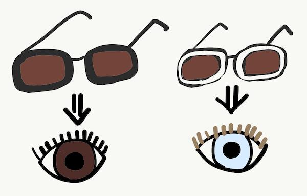 目の色と眩しさはサングラスと同じ