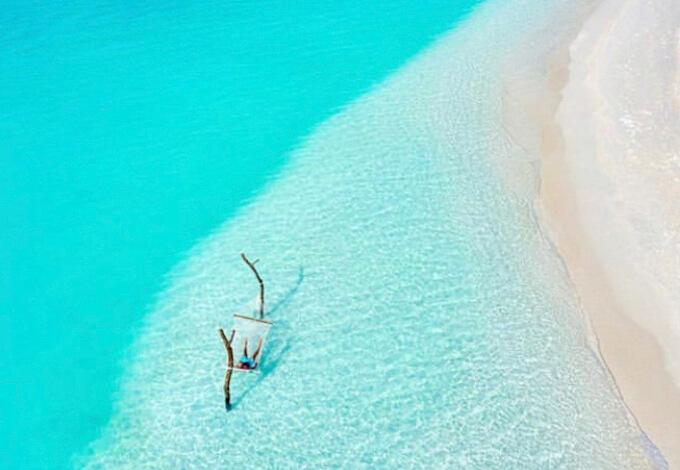 モルディブ海のハンモック